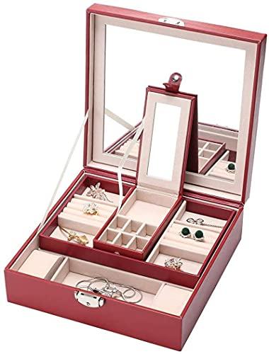 Organizador de joyas, caja de joyería de PU, espejo grande y 2 bandejas para mujeres y niñas pendientes anillo pulsera y organizador de relojes con cerradura
