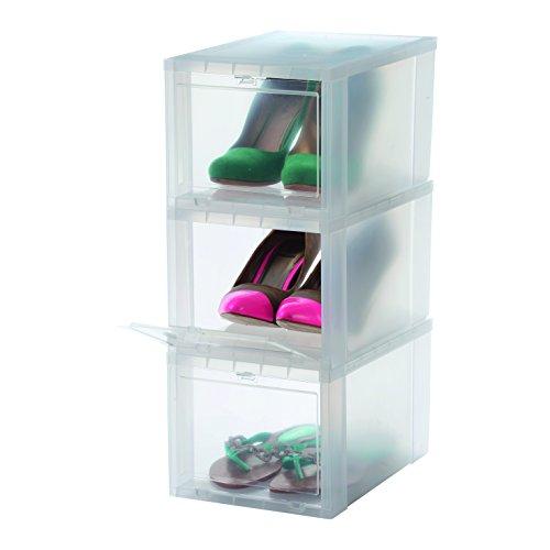 Iris Ohyama EUDF-S - Cajas de Almacenamiento para los Zapatos, Plastico, Pequeño - 31 x 22 x 18 cm, Juego de 3