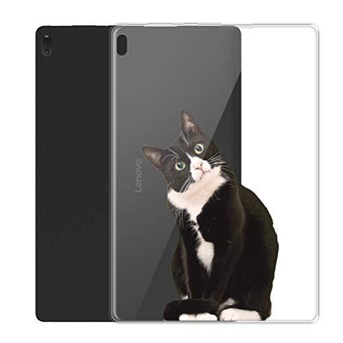 """ZhuoFan Funda para Lenovo Tab E10, Case Carcasa Silicona Gel TPU Transparente con Dibujos Antigolpes Smart Cover Piel de Protector Ligera Tableta para Lenovo Tab E10 TB-X104F 10,1"""", Gato 1"""