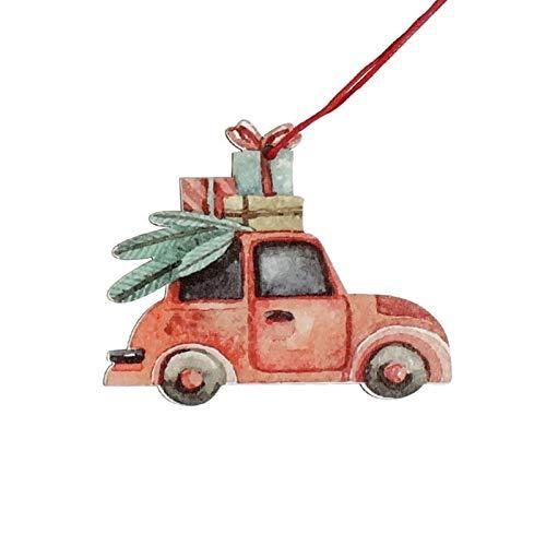 3Pcs Kerstmis Truck Houten Hangers Ornamenten For Kerstboom Ornament New Year Decoratie Partij Van Het Kind Speelgoed (Color : Car Gift)