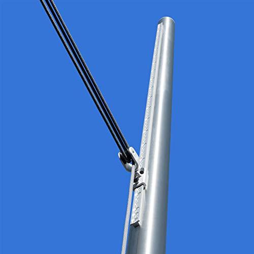 Pina DESIGN seit 1979 - Sonnensegel Mast höhenverstellbar 3m, aus V2A Edelstahl inkl. Zubehör - echtem 3-Fach Flaschenzug-Set & 0,75m Bodenhülse zur Befestigung | für große Segel (60,3/3mm)