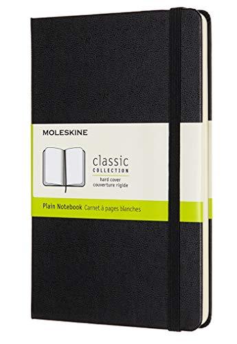 Moleskine - Cuaderno Clásico con Hojas Lisas, Tapa Dura y Cierre Elástico, Color Negro, Tamaño Medio 11.5 x 18 cm, 208 Hojas