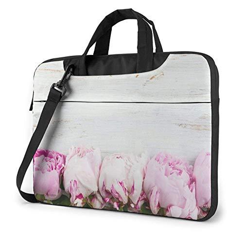 Laptop Messenger Laptop Bag Boda Pink Peonies Bolso de Hombro de Madera Maletín Oficina Funda para computadora portátil Satchel Tablet para Hombres Mujeres
