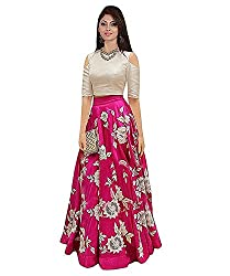 SHOPPING VILLA Womens Tapetta Silk Lengha Choli (Pink, Free Size)