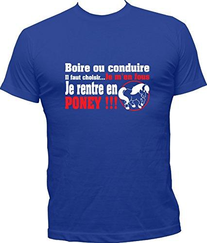 Boutique KKO-Maglietta divertente con scritta in francese 'Je rentre en poney' blu royal Medium
