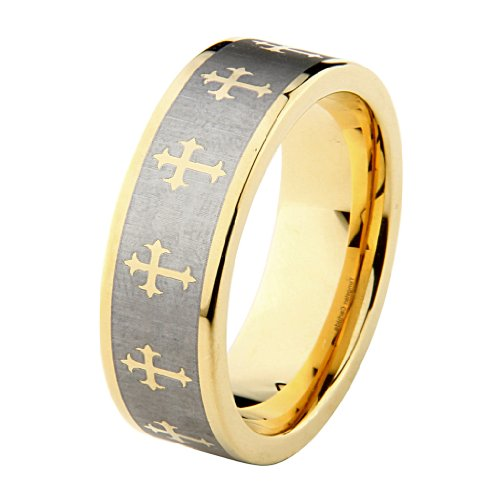 8mm Celtic Design Cross Tungsten Carbide Gold Plated Comfort-Fit Wedding Band Ring (Size 5 to 15) - Size 11