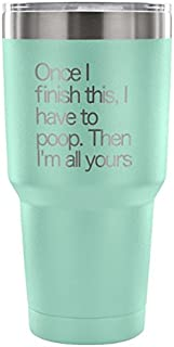 After This Coffee I'm Off for a Poo Travel Mug Tumbler - Once I Finish This I Have to Poop Then I'm All Yours Gift - SWEAT FREE - Coffee Makes Me Poo Best Bathroom Glass - Black, LARGE 30-OUNCE