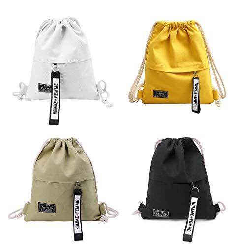 NIANNIAN Drawstring Backpack Canvas Storage School Gym Drawstring Bag Pack Rucksack Backpack Pouch (Black)