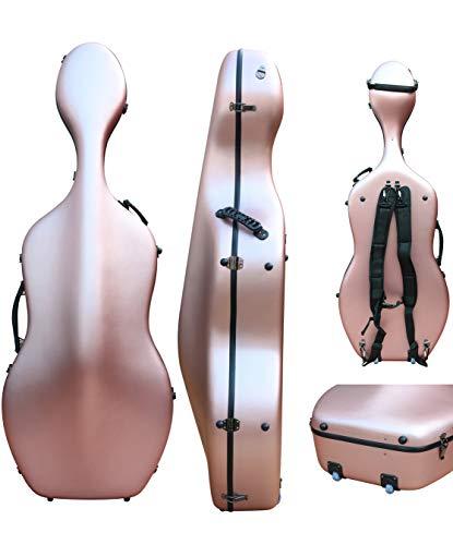 4/4 Cello Koffer aus Kohlefaser, Hartschalenkoffer in voller Größe, robust, leicht, 4,5 kg, belastbar bis 300 kg rose-gold