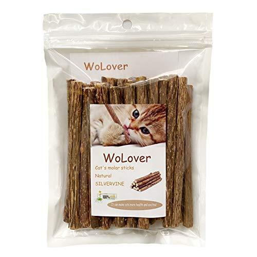 WoLover Silvervine Sticks for Cats, Natural Catnip Sticks Matatabi Chew Sticks Teeth Molar Chew Toys for Cat Kitten Kitty (25 PCS)