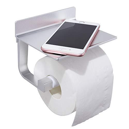 GERUIKE Toilet Paper Holder No Drill Toilet Roll Holder Mobile Phone Holder Bathroom Tissue Storage Holder Self Adhesive Space Aluminum Rustproof Silver
