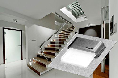 TANGO SKOFF Lot de 10 lampes LED pour escalier avec transformateur et 2 transformateurs en acier inoxydable brossé Blanc chaud/blanc froid 10 V 0,8 W IP20 A+