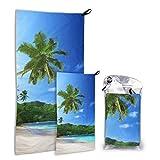 Playa en la puesta de sol en la isla de Mahé en Seychelles Paquete de 2 microfibra Toalla de playa al aire libre Toalla para baño Conjunto Secado rápido Lo mejor para el gimnasio Viaje Mochilero Yoga