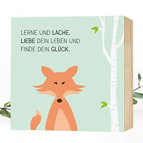Wunderpixel® Holzbild Finde-dein-Glück Fuchs - 15x15x2cm zum Hinstellen/Aufhängen, echter Fotodruck mit Spruch auf Holz - Wand-Bild Aufsteller Kinderzimmer zur Dekoration oder als Geschenk-Idee