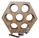 Pack » Porte-bouteilles hexagonal en bois résistant pour 7 bouteilles + tire-bouchon + décapsuleur avec bouchon + thermomètre pour bouteilles de vin