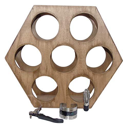 Pack » Botellero Vino Vertical Pared de Madera Resistente para 7 Botellas + Sacacorchos + Escanciador de Vino con Tapón + Termómetro para Botellas de Vino