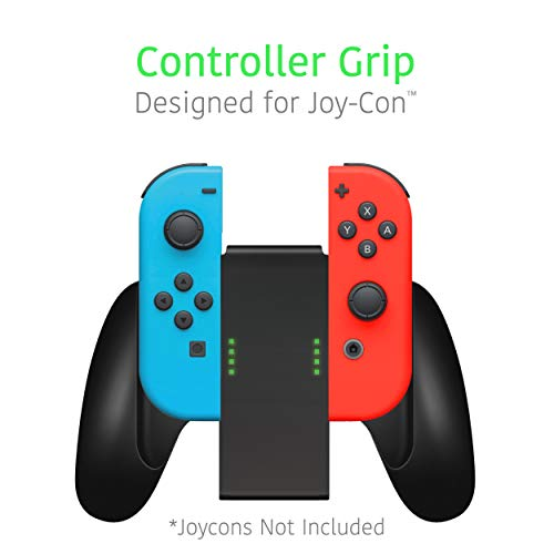 TALK WORKS Joycon Comfort Grip for Nintendo Switch - Joy-Con Controller Game Accessories Handheld Joystick Remote Control Holder Joy Con Kit - Black