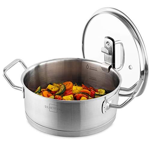 SILBERTHAL Kochtopf Induktion 20 cm - Edelstahl - 2,5L - Topf mit Deckel zum Einhängen - Für alle Herdarten - Ofenfest