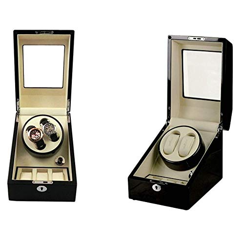Manyao Watch Winder automática for 2 Relojes, Watch Winder Madera Watch Winder Display Box 2 + 3 Cojín almacenajes de Piel y/Piano Color/Vidrio Templado