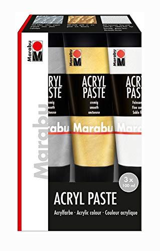 Marabu 1202000000087 - Acryl Paste Sortierung, für einzigartige Struktureffekte bei der Acrylgestaltung, auf Wasserbasis, lichtecht, wetterfest, 3 x 100 ml in feinsand, silber und gold