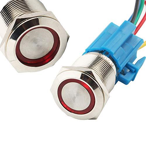 CESFONJER金属ラッチボタンスイッチ、ワイヤープラグ付き防水トグルスイッチ、シルバーステンレス鋼、赤色LEDリング付き、19mm 3/4インチ取り付け穴12V電源(赤)に適合