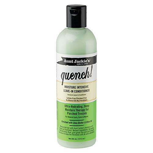 Aunt Jackie's Quench, Moisture Intensive Leave-in Conditioner, Ultra-Hydrating, Deep Moisture Therapy for Parched Hair, Bottle Shea butter & Olive oil 12 Fl Oz