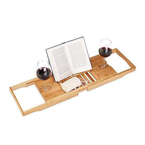 Relaxdays Badewannentablett ausziehbar, Bambus Badewannenablage m. Buchstütze, Glashalter, verstellbar 70-105cm, Natur