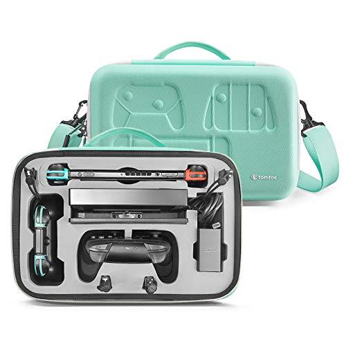tomtoc Storage Case Tasche fur Nintendo Switch Hartschale Deluxe Hulle Tragetasche Aufbewahrungstasche Etui kompatibel mit Switch Konsole Dock 36 Spielkarten Pro Controller Netzteil Grun