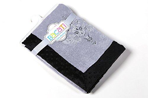 Bacati Classic - Manta de felpa, diseño de damasco, color negro y gris