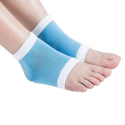 FENICAL Chaussettes à talon en gel pour peau sèche, dure et craquelée, hydratantes à bout ouvert, confortables et aérées, pour spa (bleues)