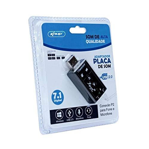 Placa de som USB externa adaptador 7.1 Digital Fone E Microfone Knup