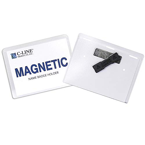 C-Line Magnetic Style Name Badge Kit, 4 x 3 Inches, Box of 20 (92943), Clear - Use as Vaccine Card Protector for COVID-19