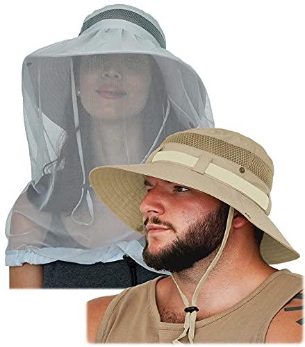 GearTOP Sun Hat Boonie Hats Wanderer Beige Mosquito Head Net Hat Discoverer Light Grey