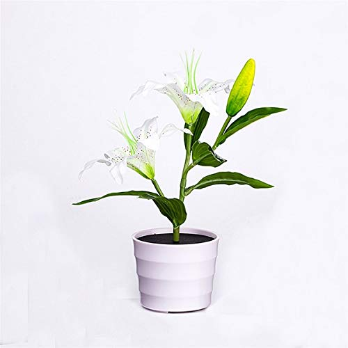 Abongone Lily Lights op zonne-energie met led-sfeerverlichting in elke bloempot-tafelbloempot modern decoratief