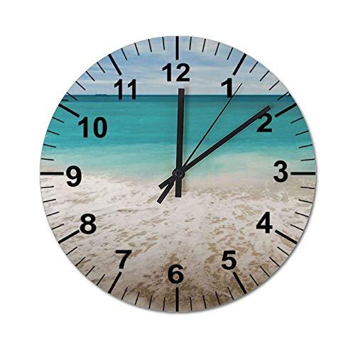 Reloj de Pared Decorativo, decoración del hogar de Estilo rústico de Granja Industrial Vintage para Sala de Estar, Relojes de PVC con Tema de océano y Playa, Redondo de 60 cm