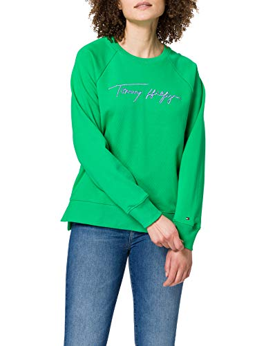 Tommy Hilfiger Relaxed Script C-NK Sweatshirt Sudadera, Verde primario, XS para Mujer
