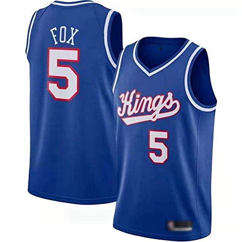 SHR-GCHAO NBA Sacramento Kings # 5 De'aaron Fox Jersey, Pallacanestro Jersey Uomo - Maglia Ad Asciugatura Rapida Gilet Traspirante,XXL(185~190cm/95~110KG)