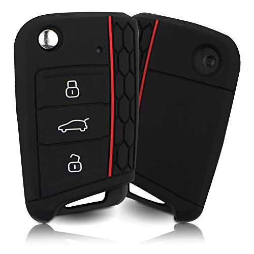 ASARAH Premium Silikon Schlüsselhülle geeignet für VW, Schutzhülle Autoschlüssel Cover - Schwarz, Rot VW 3BKB-c
