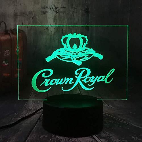 3D nachtlampje kroon Royal Logo Whisky Wijn 3D LED nachtlampje tafel bureaulamp Home Room Office Decor Nieuwjaar Kerstmis kerstcadeau