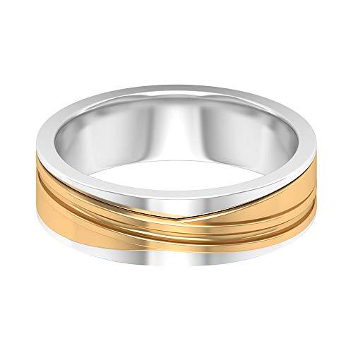 Anillo de banda unisex, anillo de banda ancha, anillo de banda de dos tonos, anillo grabado en oro, 14K Oro amarillo, Size:EU 70