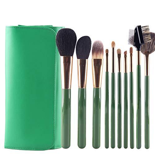 12pcs Premium pinceau de maquillage cosmétique pour la Fondation Blending Blush Concealer Ombre à Paupières Fibre synthétique sans cruauté Brosse à maquillage XXYHYQ (Color : Vert, Size : Libre)