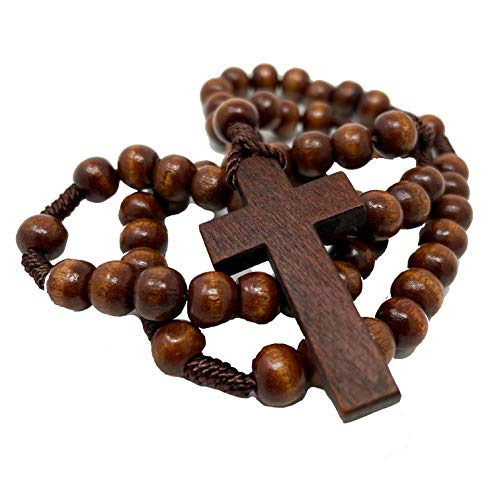 Faithful Catholic Wooden Rosary - Rosary Beads Catholic for Men - Rosarios Catolicos Para Hombre (Wood Dark Brown)