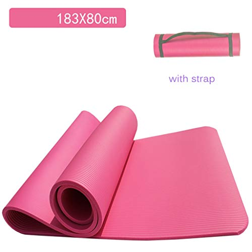HYXXQQ 10mm Dicke Gymnastikmatte,NBR Strapazierfähige Reiß Yoga-Matten,Leicht Zu Reinigen for Die Täglichen Yoga-Kurse Und Fitness-Übungen,Teppich (Farbe : Pink, Size : 183x80cm)
