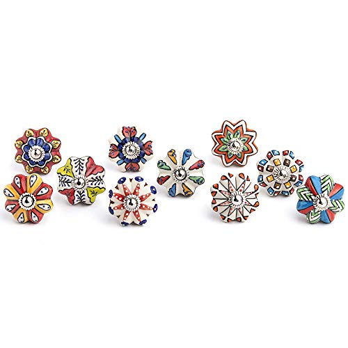 Artncraft Set Vintage Color Multi Designed Ceramic Cupboard Cabinet Door Knobs Drawer Pulls & Chrome Hardware (Multi Color 10)