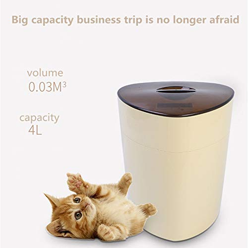 Smart Pet Feeder Pet Feeder Automatische Intelligente Fernbedienung Fütterungsautomat Katze Hundefutter Schüssel 4L große Kapazitäts Smart Pet Feeder für Hunde ( Farbe : Beige , 容量 Capacity : 4l )