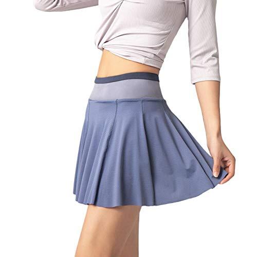 WAZA Damen-Sportrock mit 2-in-1-Leggings, für Sport, Laufen, Tennis, Golf, leicht, atmungsaktiv, schnelltrocknend, Blau