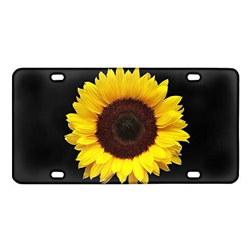 Renewold 3D Beautiful Sunflower License Plate Aluminum Metal License Plate Car Tag Novelty Home Decoration for Women Girls Men Boys 6 inch X 12 inch