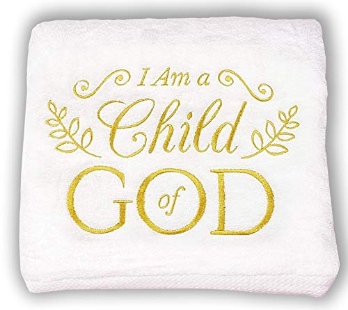 Baptism Gifts for Boys Girls Baby Christening Catholic LDS Christian Lutheran I Am A Child of God Embroidered Soft Large White Towel Confirmation Gift for Teenage Girl First Communion Decorations