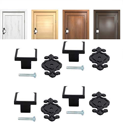Maçaneta elegante durável, confortável e retro com 4 conjuntos, linda maçaneta resistente ao desgaste, para guarda-roupas na maioria das portas e armários(336 Matte Black-White)