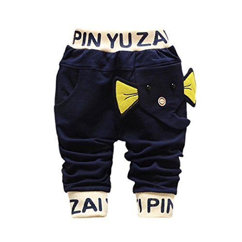 Hirolan Baby Strampler Kinderkleidung Mode Säugling Kleinkind Jungen Karikatur Elefant Drucken Hose Beiläufig Outfits 1T-4T Kinder Kleider (70cm, Dunkelblau)